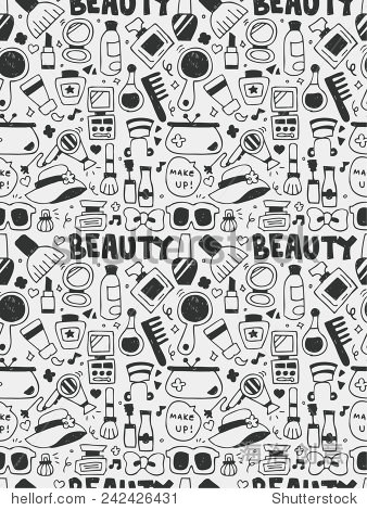 化妆品美容涂鸦元素手绘线图标,eps10