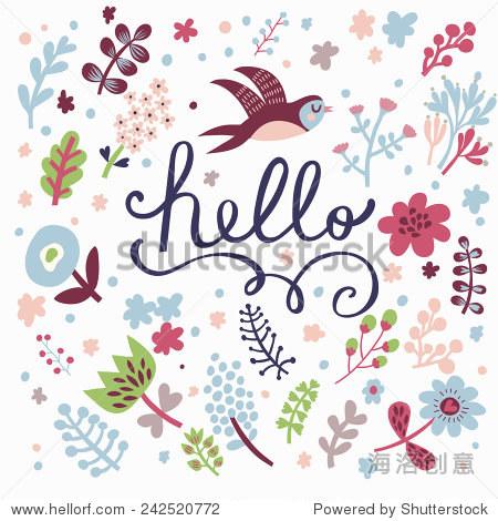 时尚的花卡做的可爱的鲜花和燕子在现代颜色向量