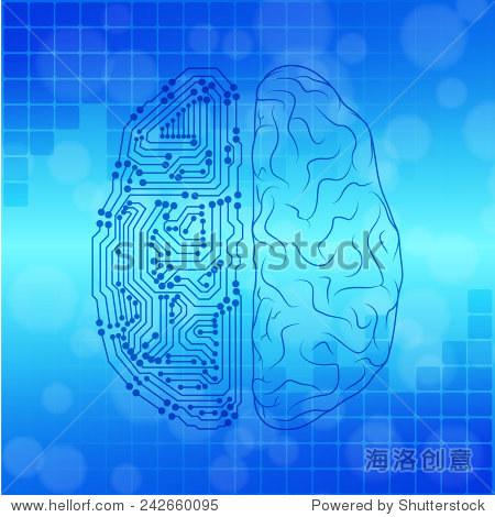 大脑与电路板纹理.数字的概念.数字化的背景.eps10向量