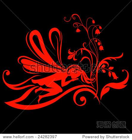 矢量图的轮廓的仙女花朵图案设计