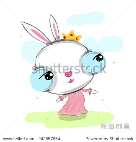 矢量图的可爱漂亮的兔子卡通绘画风格