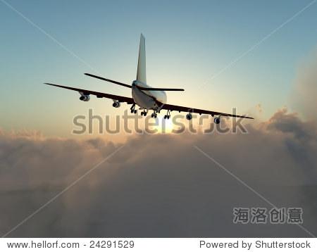 一架飞机在飞行云