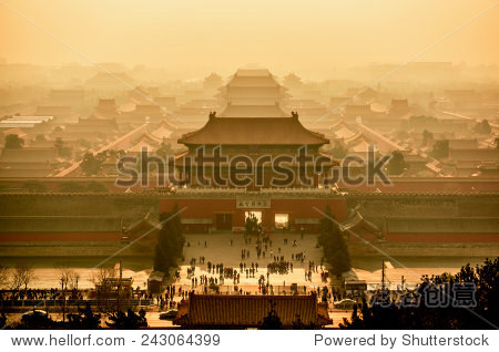 Imperial palace in Beijing view from above. China.