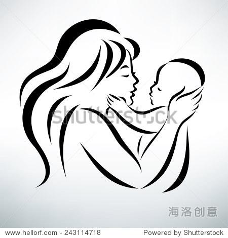 妈妈拥抱宝宝的简笔画_年轻的妈妈拥抱她的宝宝,程式化的向量符号