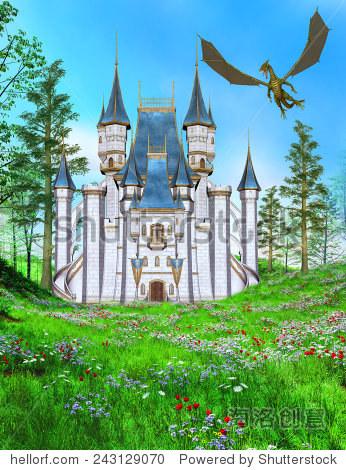 手绘图 - 童话城堡, 同时,, 飞行, 龙