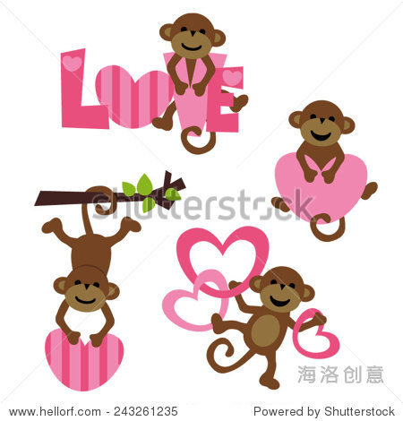 可爱的猴子向量剪贴画 对情人节的设计 动物 野生生物,假期 站酷