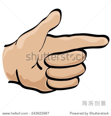 孤立的向量卡通风格手持式指向手势