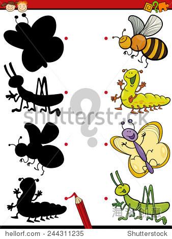 卡通矢量插图为学龄前儿童教育的影子配对游戏 - 动物