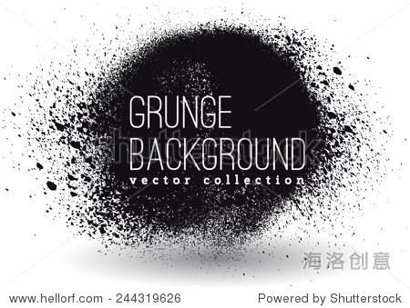 黑色墨水矢量喷污渍-背景/素材