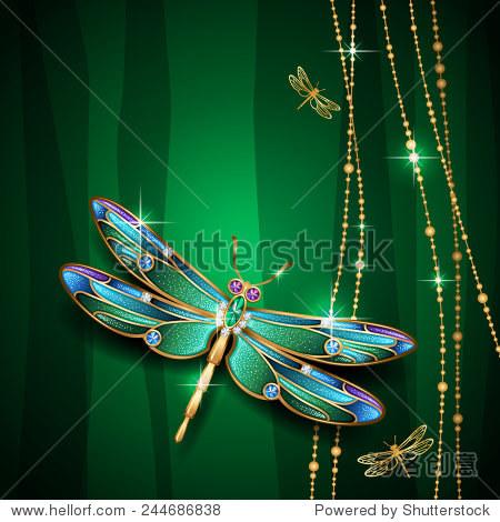 美丽的珠宝蜻蜓在绿色背景上.矢量图