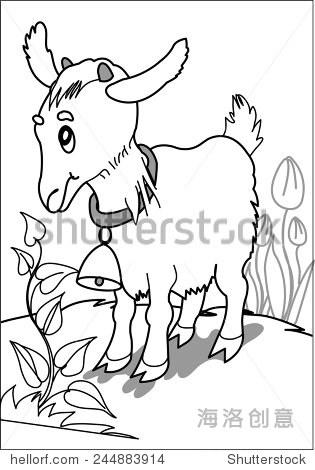 小山羊在草地上.小山羊站在布什的空地周围的花和草.着色页面