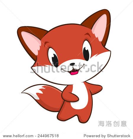 可爱的卡通小狐狸的矢量插图设计元素.