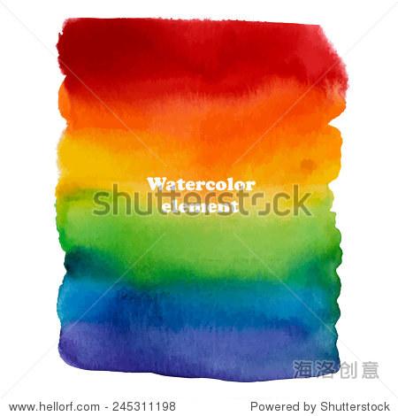 抽象水彩画彩虹背景设计.矢量插图.