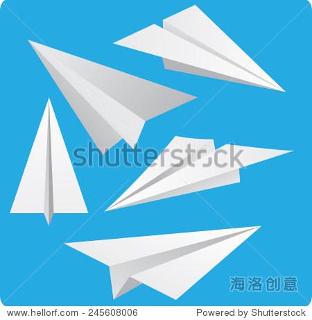 矢量图的纸飞机在蓝色背景卡通风格