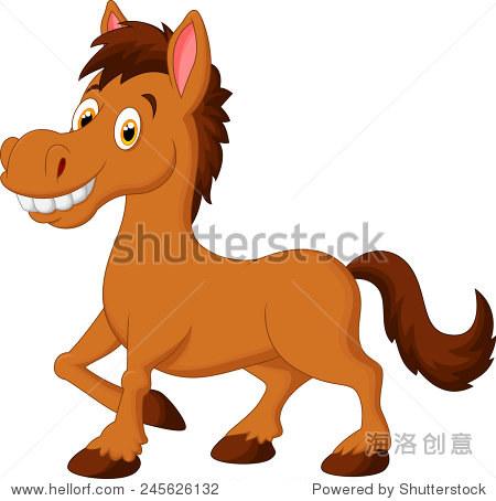 可爱的卡通棕色的马 - 动物/野生生物 - 站酷海洛创意