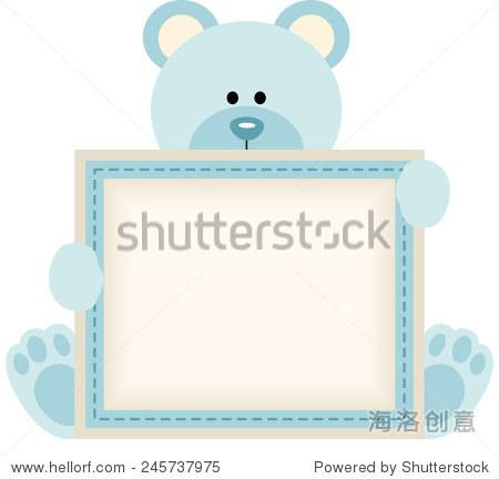可爱的泰迪熊拿着空白签收男婴公告 - 动物/野生生物