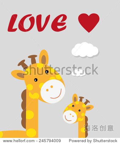 长颈鹿/ t恤图形/可爱的卡通人物/对孩子可爱的图形/书插图/ le平面