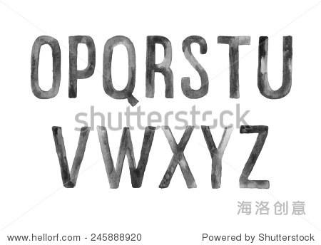 o-z手绘水彩艺术字体,字母
