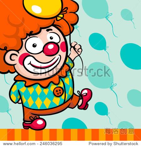 小可爱的卡通和红鼻子小丑气球和橙色背景上的蓝绿色假发气球