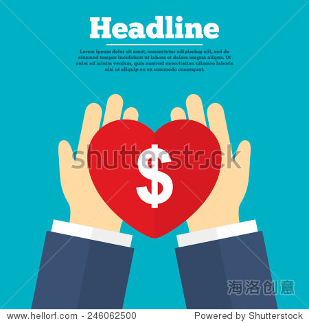 之手与心 美元符号图标 美元货币符号 钱标签 慈善与标题符号 向量 图片