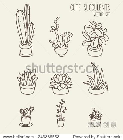 可爱的盆栽植物,矢量插图