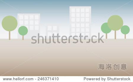 简单的矢量平面插图与树木和一个城市的建筑