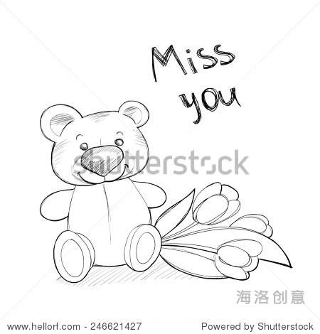 可爱的泰迪熊用鲜花.光栅线说明