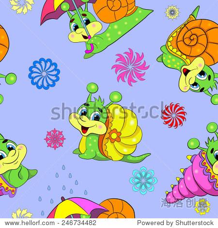 卡通有趣不同的蜗牛.无缝模式.-动物/野生生物,背景
