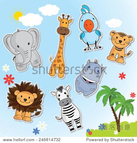 有趣的动物来自非洲.长颈鹿,狮子,老虎,大象,斑马,在.