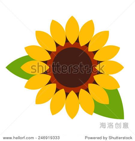 向日葵——花朵图标孤立在白色背景-自然,符号/标志