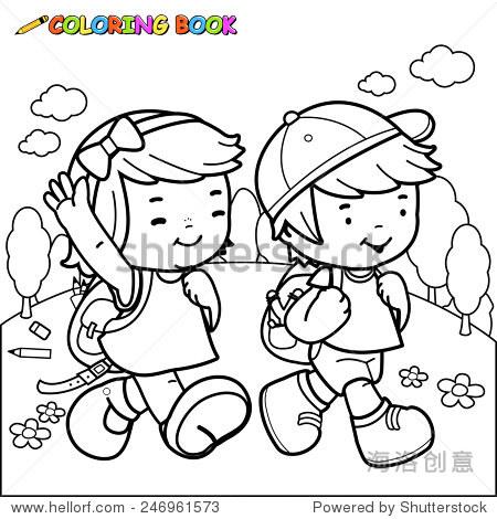 彩色书孩子走路上学.插图的黑白轮廓图像的一个女孩和图片