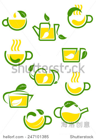 abstract cups and teapots with green or herbal图片