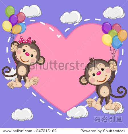 情人节卡片与恋人猴子气球飞行 - 动物/野生生物