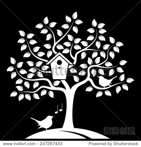 向量树筑巢鸟箱和一些鸟类孤立在黑色背景