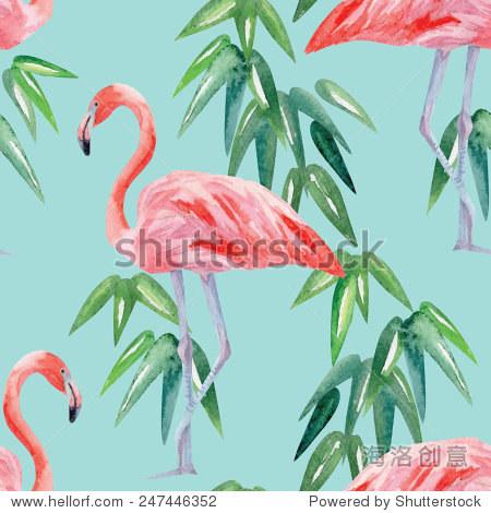 火烈鸟和棕榈叶水彩无缝的背景