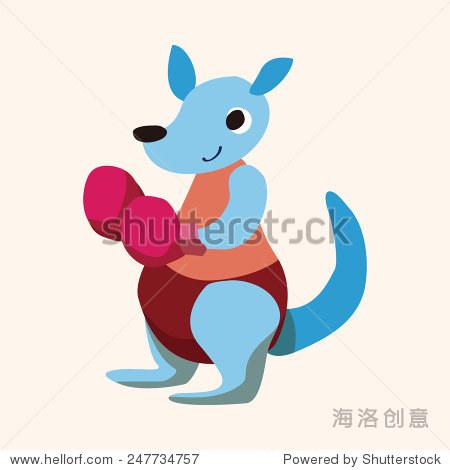 运动的动物袋鼠卡通