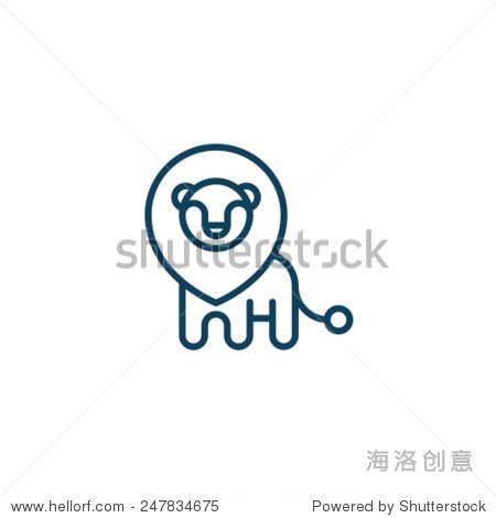 动物园狮子图标符号集 - 动物/野生生物,符号/标志