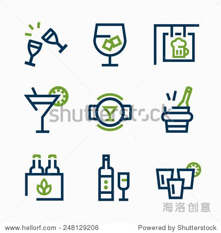 不同的饮料图标矢量图标设置简单线性风格