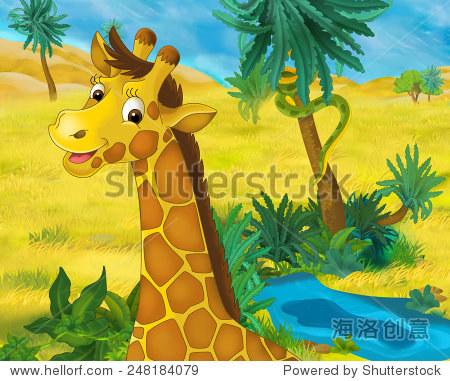 卡通场景——非洲野生动物——长颈鹿——儿童