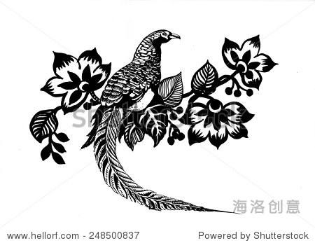 pheasant bird sketch in flowers