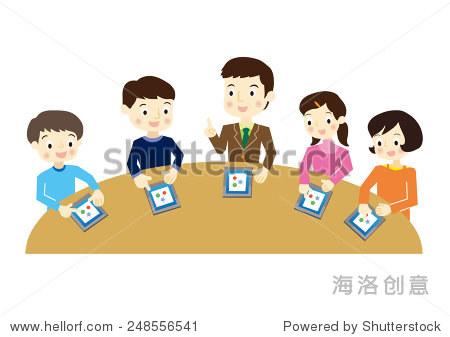 小学生学习平板电脑-教育,人物-海洛创意正版图片,,-.