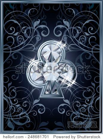 扑克俱乐部,diamond card vector图解