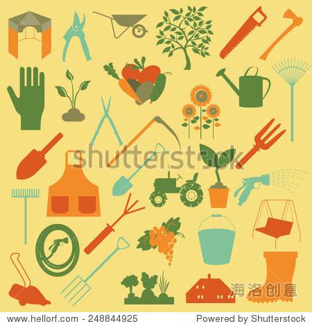 花园工作图标集.工具.矢量图