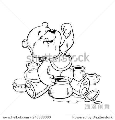 Teddy bear eating honey from the pot. Vector illustration for coloring book