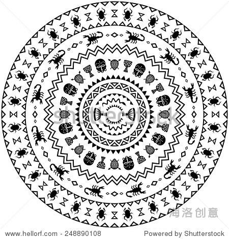 与动物圆装饰,花瓶,鼓.非洲部落的主题.矢量设计