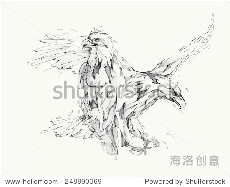矢量插图,手图形——鹰