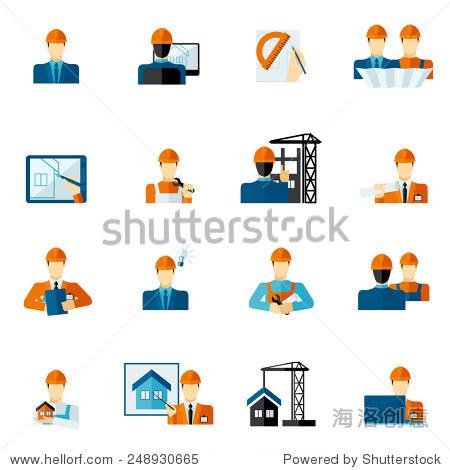 工程师工厂制造服务工人图标平组孤立的矢量图