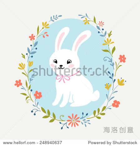 可爱的白兔和花环.