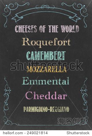 """黑板粉笔""""奶酪菜单""""手绘"""