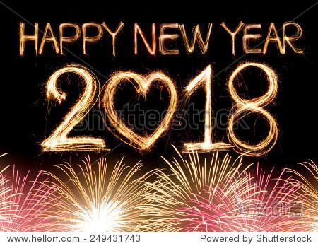 新年快乐2018字由炯炯有神的眼睛点燃烟花
